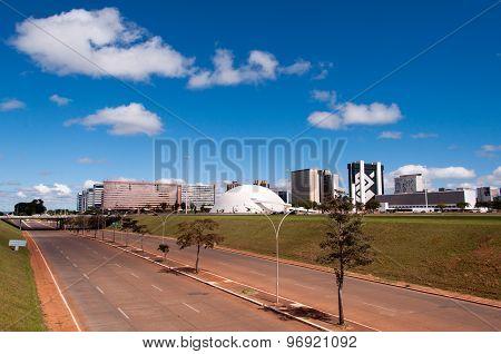Skyline of a modern city Brasilia, capital of Brazil
