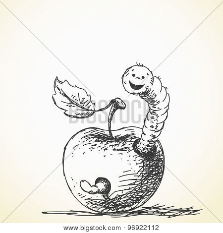 Worm and apple, Vector sketch, Hand drawn illustration