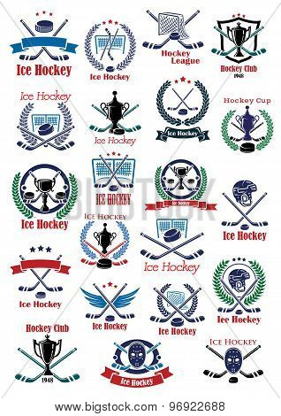 Ice hockey game icons and symbols