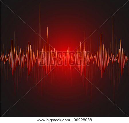 Vector equalizer, musical bar. Dark background