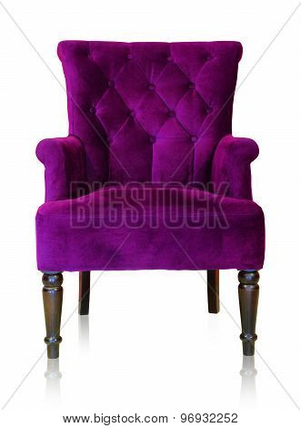 Old styled purple vintage armchair isolated on white background clipping path.