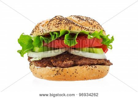 Big Hamburger Isolated On A White Background