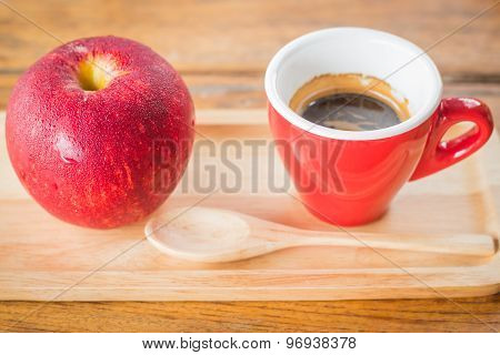 Easy Meal With Red Apple And Coffee