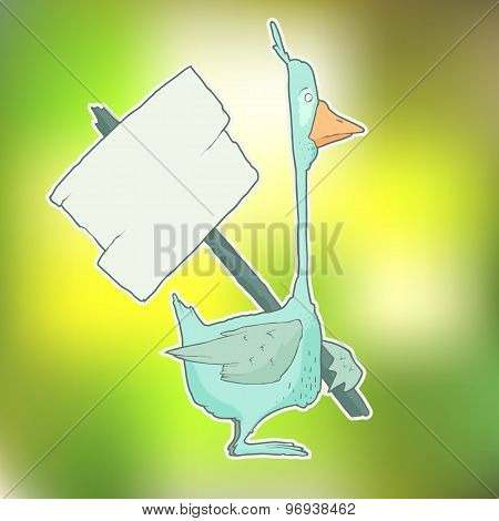 Cartoon Character Goose with wooden poster Isolated on Color Blurred Background. Vector.