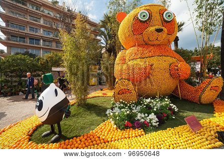 MENTON, FRANCE - FEBRUARY 20: Panda bear made of oranges and lemons on Lemon Festival (Fete du Citro