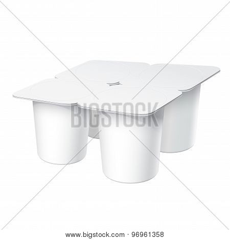 Realistic White Plastic Container Set For Yogurt