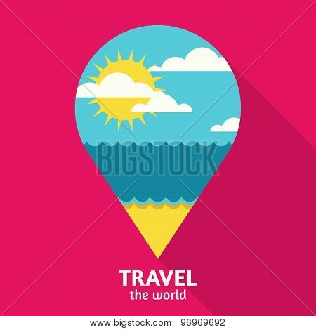 Vector Summer Travel Colorful Abstract Background With Place For Text.