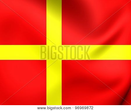Flag Of Skane Landskap, Sweden.