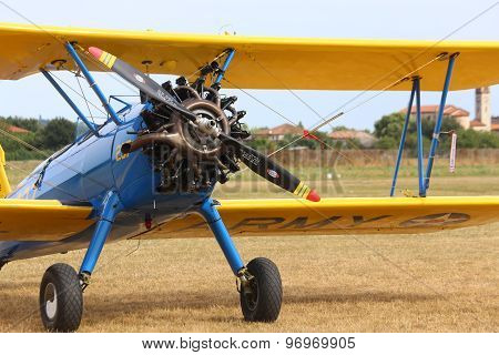 Thiene, Vicenza - Italy. 26Th July, 2015:biplane With Big Engine And Big Propeller