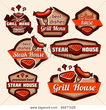 grill logos set