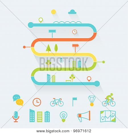 Timeline, Route and Road Map Infographics Elements