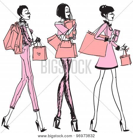 Pretty girls with shopping bags