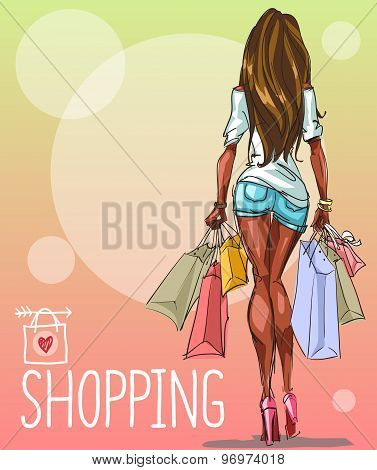Young woman with shopping bags, background with space for text