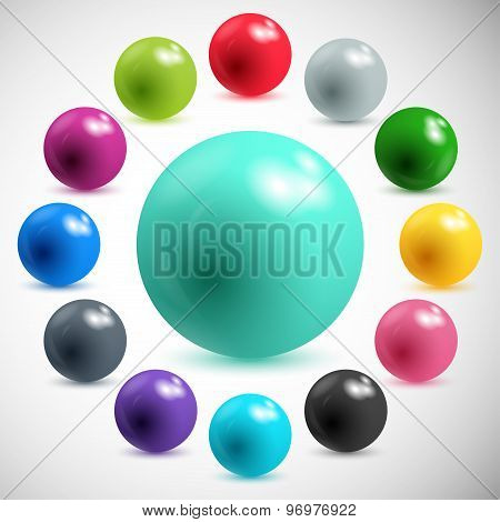 set abstract colorful balls on a gray background. vector illustration eps10