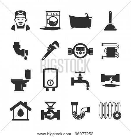 Vector black plumbing icons collection poster