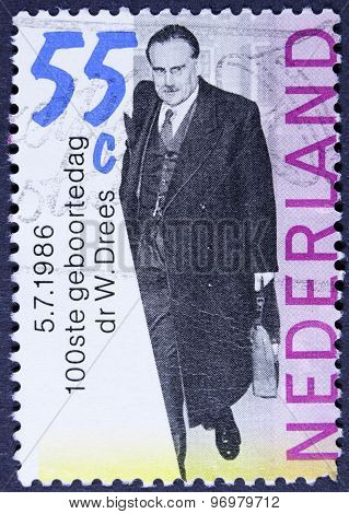 Businessman on a stamp