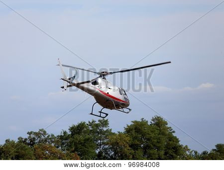 Thiene, Vicenza - Italy. 26Th July, 2015:small Helicopter For Sightseeing