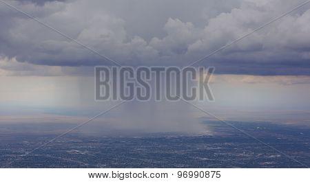 Dramatic Rain Storm Over Albuquerque Airport