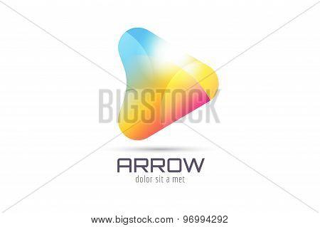 Vector logo template. Abstract arrow shape and symbol, icon or creative, idea, flow. Stock illustrat
