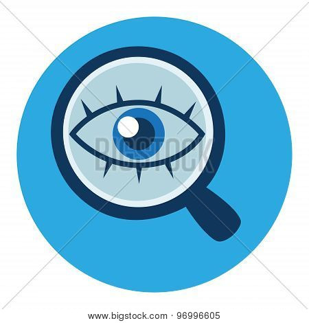 Magnifying glass and eye vector icon in flat style