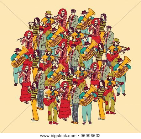 Big group musicians band orchestra color