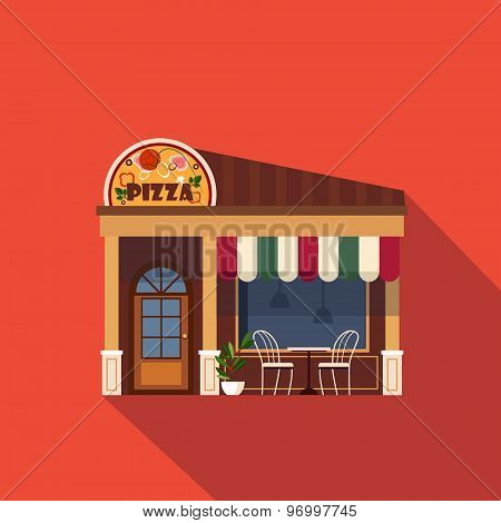 Restaurants and shops facade, storefront vector detailed flat