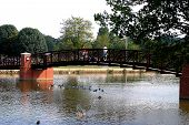 city park in hendersonville tennessee walking bridge over local lake poster