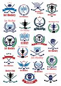 Ice hockey game icons and emblems with hockey sticks, pucks, goalie masks, helmets, trophy cups, gates. Supplemented by wings, stars, wreaths, shield and ribbon banners poster