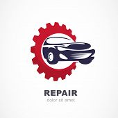 Vector flat illustration of sport car in gears cogs. Abstract logo design template. Concept for automobile repair service spare parts store. poster