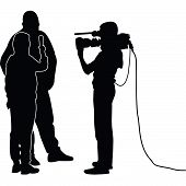 interview with a star, journalist and cameraman poster