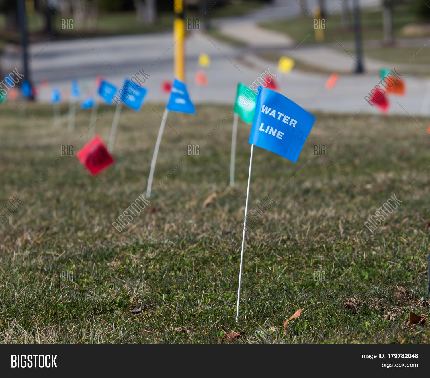 Utilities Flag Markers Image & Photo (Free Trial) | Bigstock