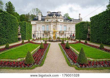 Linderhof Palace. East View With The Side Garden. Bavaria, Germany.