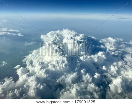 Puffy cumulus clouds viewed from 36,000 feet
