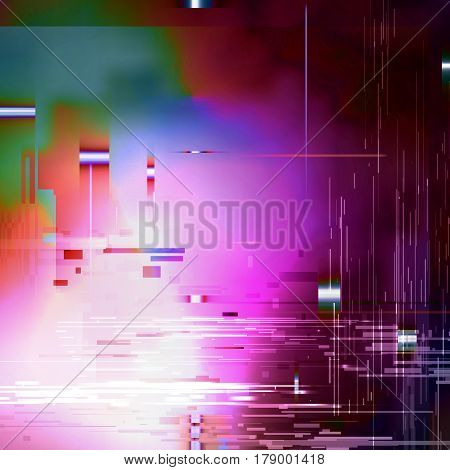 Glitched Abstract Vector Background. Made Of Colorful Pixel Mosaic. Digital Decay, Signal Error, Television Fail. Trendy Design For Print Poster
