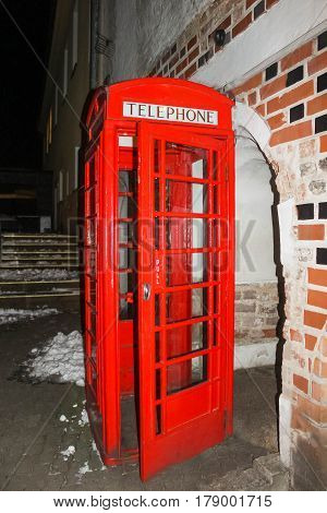 Traditional old style UK red phone box in London