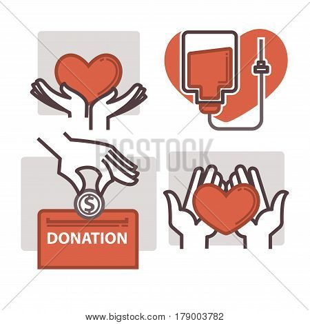 Blood donation vector logos templates of heart in helping hand and coin in charity box. Outline design for World Donor Day social event or volunteer donorship fund center and medical group or hospital