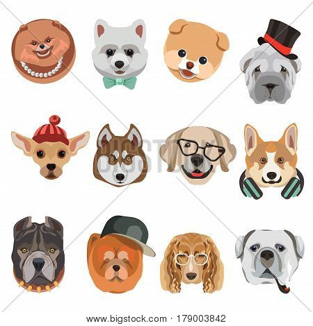 Funny cartoon dogs heads and muzzle faces vector icons set. Different dog breed hipster style. Cute puppy pets in tie necklace collar, headphones, gentleman knitted hat, glasses and smoking pipe