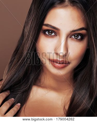 cute happy young indian woman in studio close up happy smiling, fashion mulatto adorable smile, lifestyle people concept close up