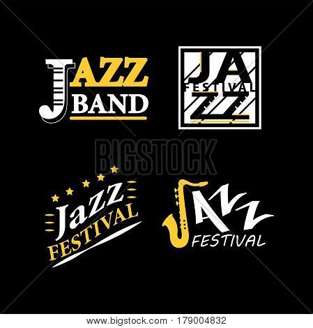 Jazz club or live festival vector logos templates set. Isolated icons of sax or saxophone and piano for art cafe or entertainment jazz fest event