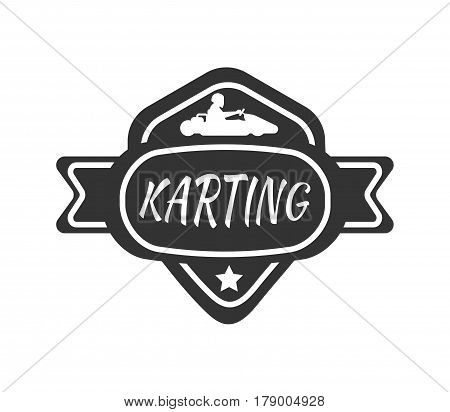 Karting club or kart races vector logo template. Isolated icon or badge of racing car and racer driver for motor sport championship tournament