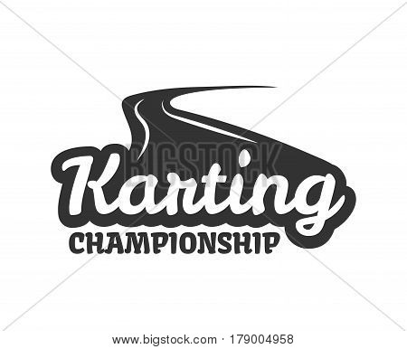 Karting club or kart races competition vector logo template. Isolated icon or badge of motor speed track and text