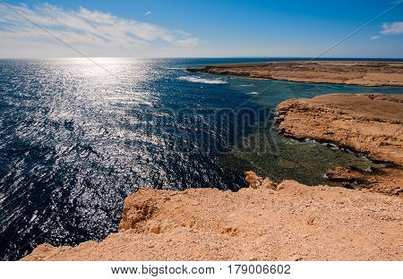 Hidden coves lost bays with blue turquoise water in Ras Muhammad National Park in Sinai Egypt