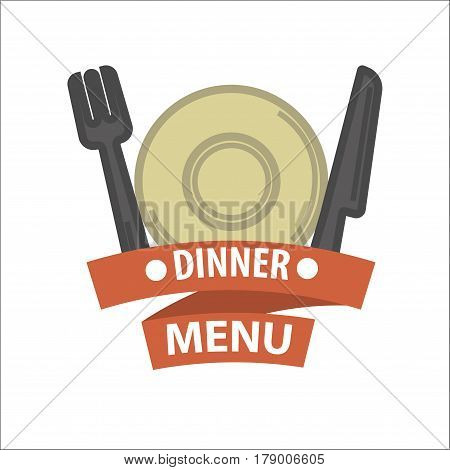 Restaurant menu design element or vector logo template. Isolated icon of dish plate, fork and knife tableware for breakfast or lunch