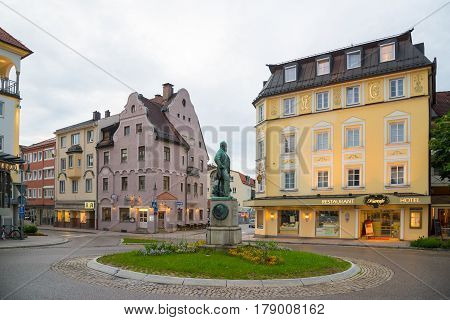 Beautiful Street In Fussen With Typical Bavarian Buildings.