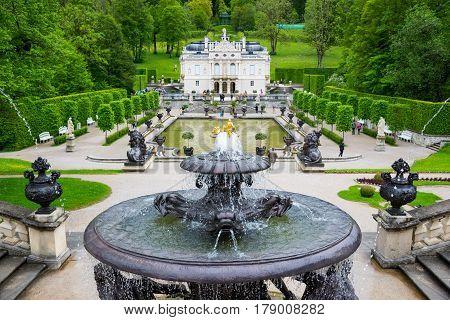 Fountain In Linderhof Palace Garden. Bavaria, Germany.