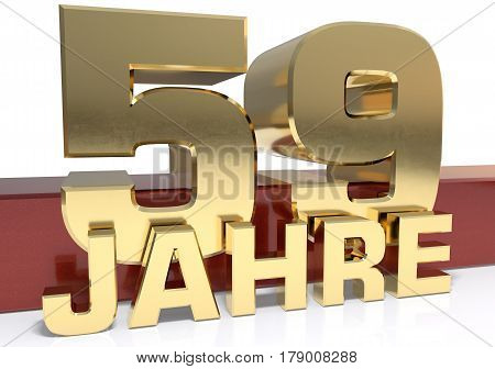 Golden digit fifty nine and the word of the year. Translated from the German - years.3D illustration