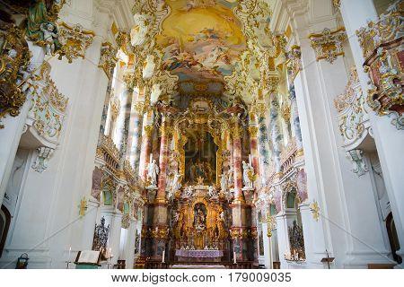 Pilgrimage Church Of Wies. Interior View. Bavaria, Germany.
