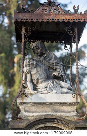 SWOSZOWICE POLAND - DECEMBER 11 2015: Old Wayside shrine by an unknown artist in Swoszowice near Cracow. Poland