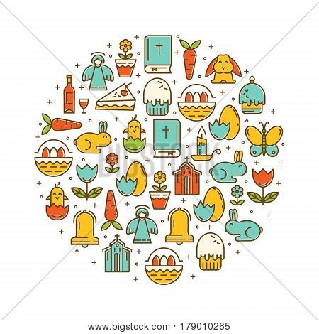 Vector illustration in the linear fashion of the various symbols of Easter. Rabbit, egg, Bible, candle. Happy Easter poster.