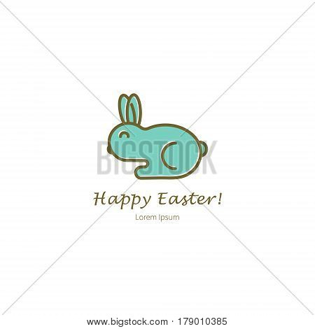Simple illustration of Rabbit Benny. Vector design elements in a linear style. Easter series.